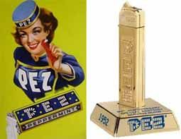 Edward Haas brought his peppermint PEZ candy to America from Vienna in 1927. He patented a Pez dispenser in 1952 modeled like a cigarette lighter. With the help of his children's he created fruit flavors, cherry, lemon, orange and strawberry. His marketing to children paid off in 1955 when he put character heads on top of the dispensers. Pez History
