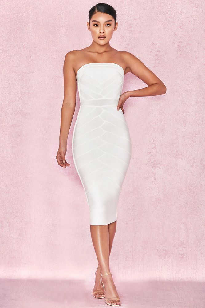cac3e553b81 HOUSE OF CB  Amoura  White Strapless Bandage Midi Dress XS 6   8 SJ 2150   fashion  clothing  shoes  accessories  womensclothing  dresses (ebay link)