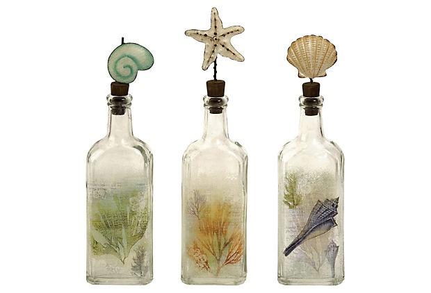 Coastal bottles ...: Beach House, Glasses, Coastal Glass, Burton Coastal, Seashell, Glass Bottles