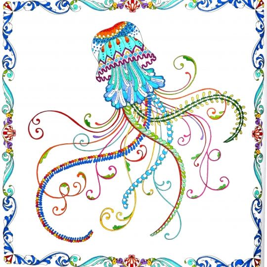 Johanna Basford Jellyfish Colouring Adult Coloring Prismacolor Artworks Medusa Art Pieces