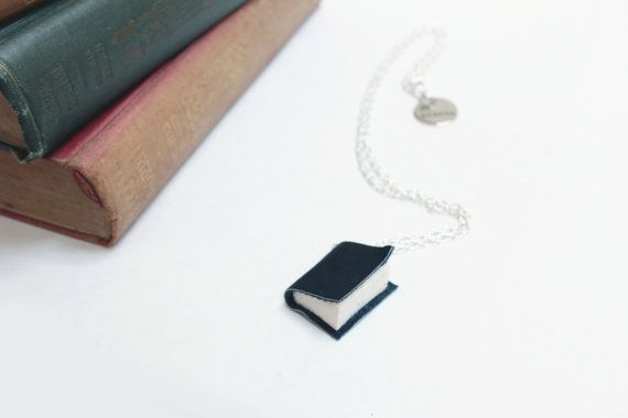 Dark Charcoal Gray Leather Book Necklace - Handcrafted/ Upcycled - Leather Bound Miniature Literature - Book Jewellery - Ex Libris https://www.etsy.com/nz/shop/ExLibrisJewellery