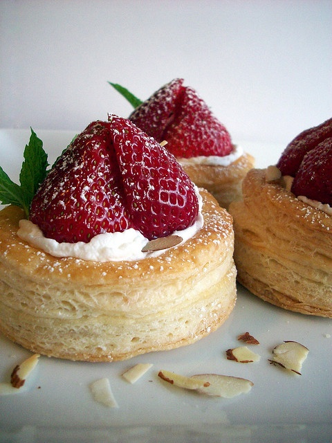 Completely Delicious . Vols-Au-Vent . { a lovely classic flavour combination . strawberries & cream . a lovely sweet vol-au-vent . the Great British Bake Off 2015 . Episode6 . showstopper } .
