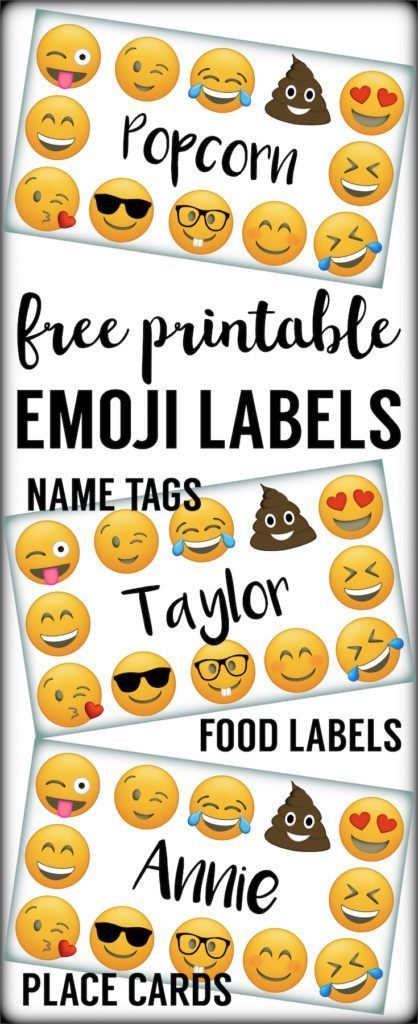 Emoji Labels, Emoji Place Cards, Emoji Food Labels. Emoji birthday party free printable. Use these at an emoji party for name tags, stickers, and much more.