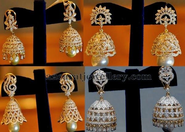 Jewellery Designs: Pearls Drops jhumkas by Kotharis Jewellery