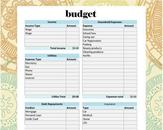 The Ultimate Budget Spreadsheet - Self Calculating to print