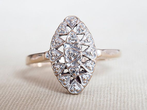 Vintage Diamond Ring, Oval Shaped Diamond Engagement Ring, Vintage Wedding Ring, 10k Yellow Gold Filigree Diamond Ring, Art Deco Band Ring