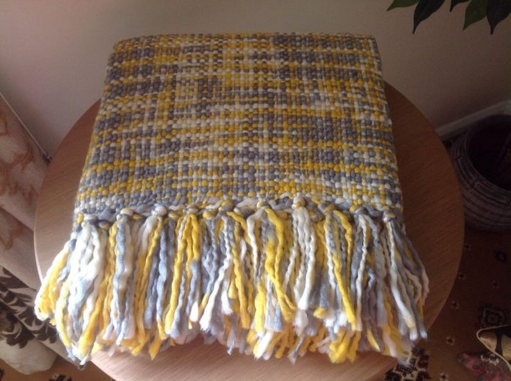 New Yellow Ochre And Grey Chunky Knitted Throw Blanket Can Post Next Day | eBay