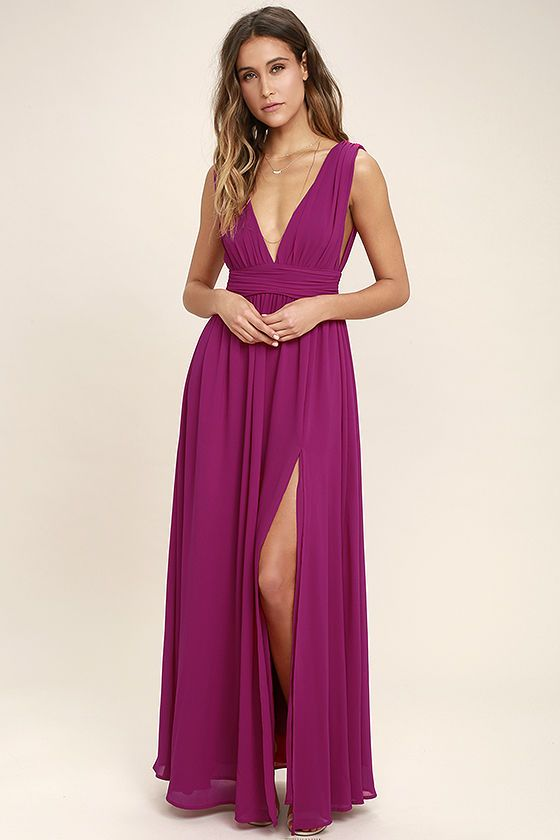 Lulus Exclusive! You'll be goddess-like for the entire evening in the Heavenly Hues Magenta Maxi Dress! Georgette fabric drapes alongside a V-neck and back, and lays across a banded waist. Full maxi skirt has a sexy side slit. Hidden back zipper with clasp.