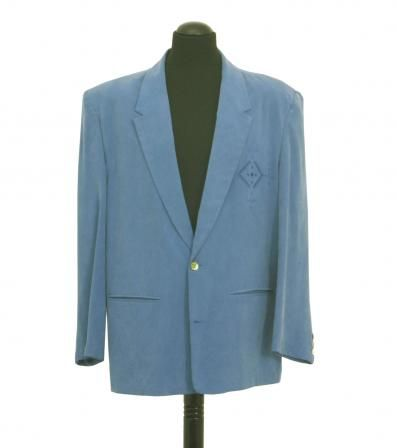 Original 1980's man's suit. in blue silk, with embroidered motif on the pocket. Loose fit and light, like fashion in the 80's ...