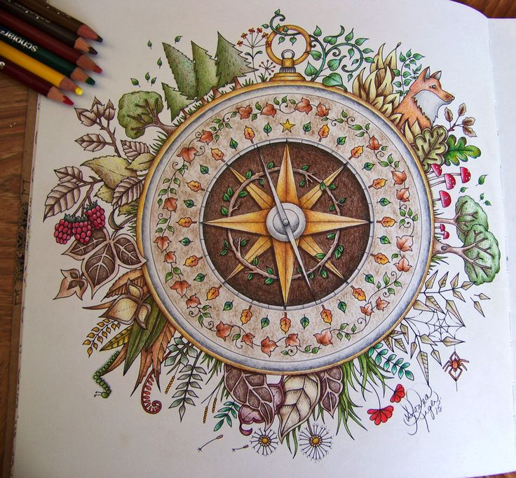 Adult Coloring Book Enchanted Forest Johanna Basford. Compass. Done with Prismacolor Scholar by Donna Leger. #enchantedforest #johannabasford