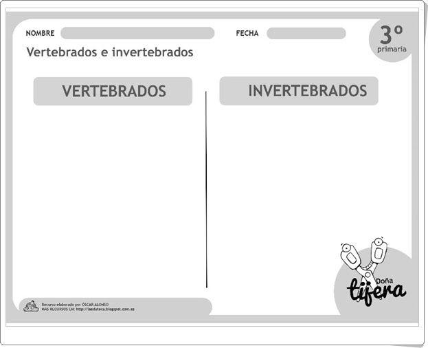 Vertebrados e invertebrados (Recortable de Ciencias Naturales de 2º y 3º de Primaria)