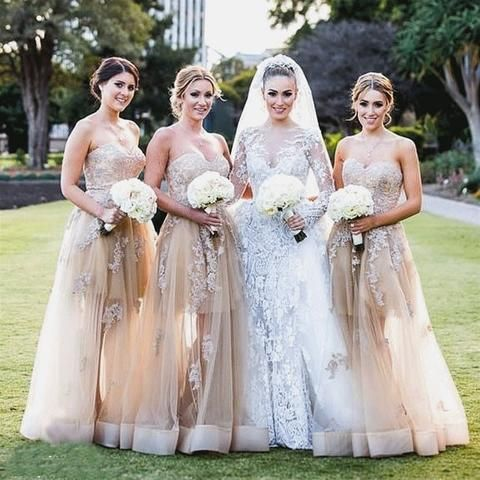 A-Line Sweetheart Floor Length Tulle Champagne Bridesmaid Dress With Appliques