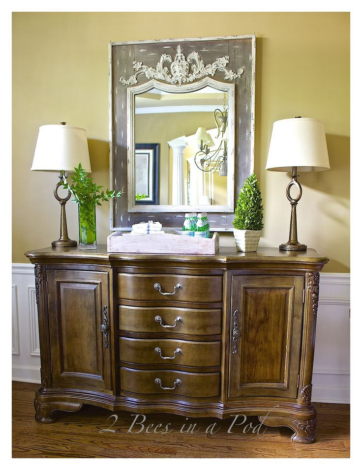Dining Room Sideboard Decor. Decorating The Dining Room For Spring. Vintage  Mirror. Decorating