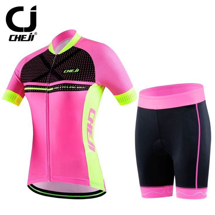 29.38$  Watch here - http://ali0gb.shopchina.info/1/go.php?t=32726506435 - Hot CHEJI Women Bike Jersey Shorts Sets Pro Cycling clothing Suits pink Girls Team bicycle Shorts Sleeves mtb Wear Top bottom  #shopstyle
