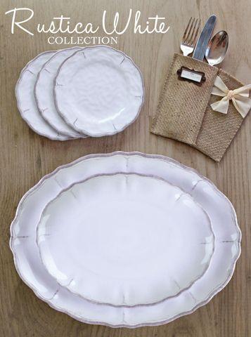 Le Cadeaux Rustica Antique White Melamine Dinnerware