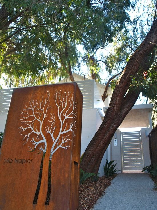 Street number  Metal cutout. Best metal yard art I've seen. Contemporary Landscape Privacy Fence + Front Yard Design, Pictures, Remodel, Decor and Ideas - page 10