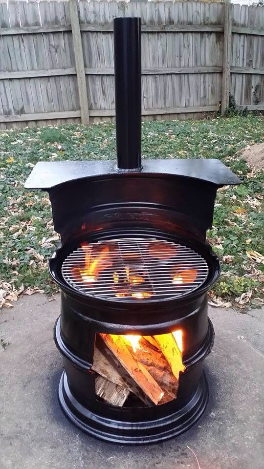 2 1/2 wheels & 1 pipe makes an awesome outdoor grill!!