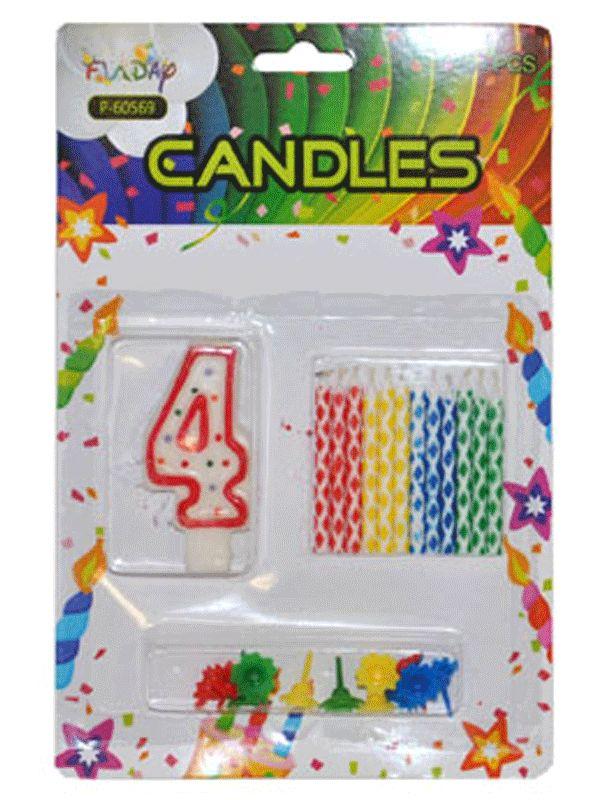 Verjaardag kaarsen set nummer 4. Deze kaarsen prikt u bijvoorbeeld in een verjaardagstaart. U ontvangt een groot cijfer en 12 kleine gekleurde kaarsen. Inclusief prikker.