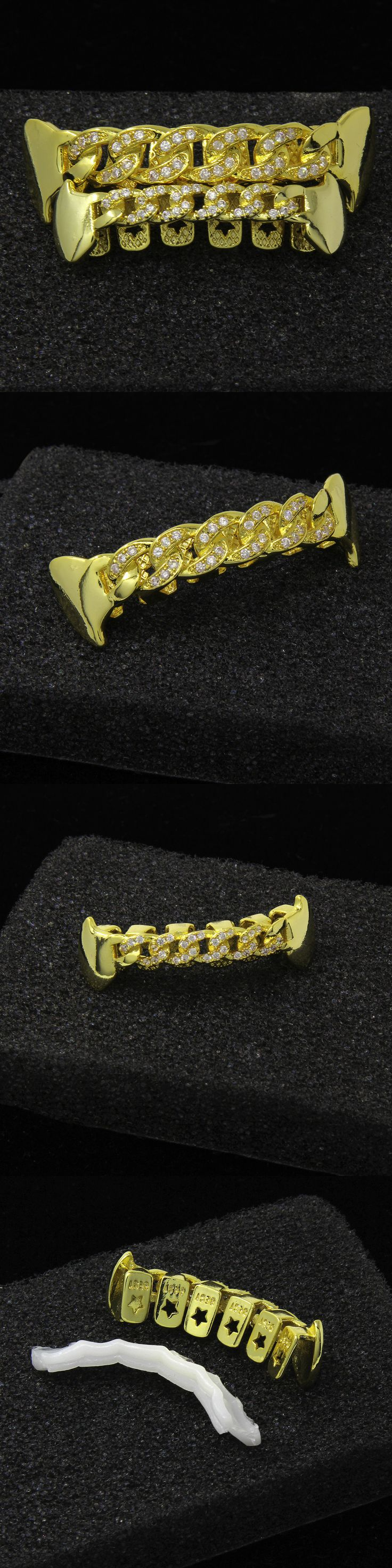 Grillz Dental Grills 152808: Custom 14K Gold Plated Hip Hop Teeth Cz Cuban Fang Grillz Top And Bottom Grill Set -> BUY IT NOW ONLY: $44.99 on eBay!