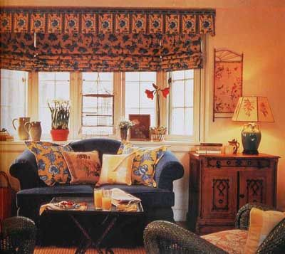 "TLC Home ""Window Treatment Ideas: Casual Comfort"": I like the roman shades with a valance. It could work for my picture windows."