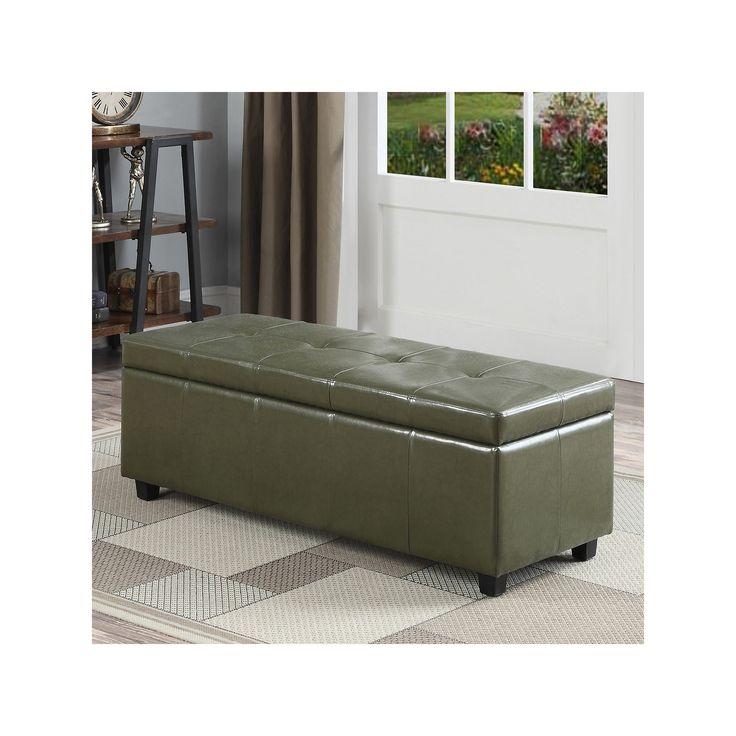 Simpli Home Castleford Large Rectangular Storage Ottoman Bench, Green