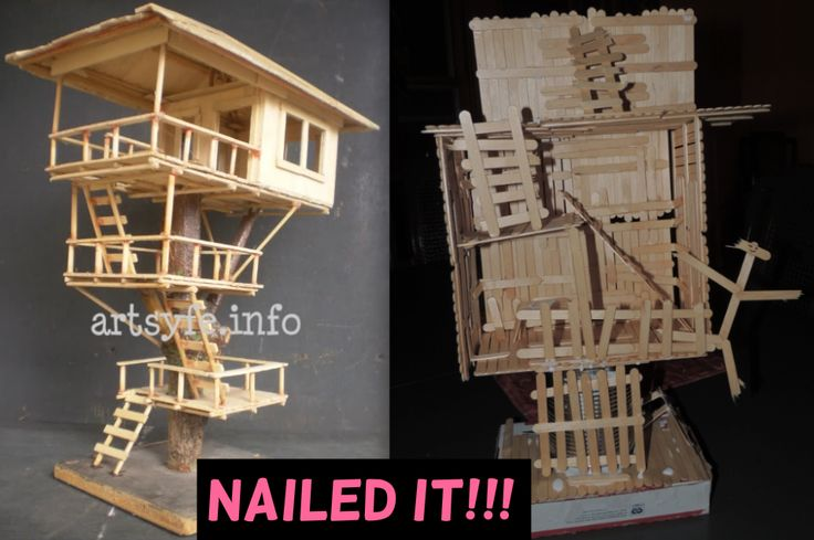 Popsicle stick tree house nailed it diy win for How to build a treehouse with sticks
