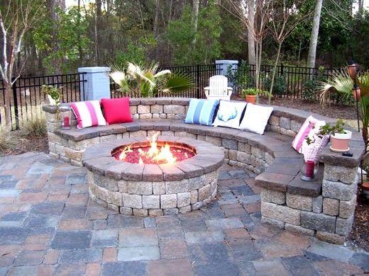 stone patio with fire pit | via gaslogsfireplacesandmore.com - 25+ Best Ideas About Paver Fire Pit On Pinterest Diy Backyard