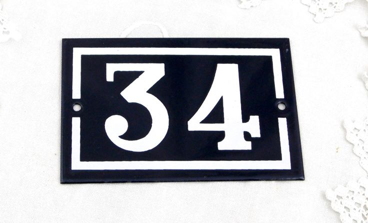 Vintage Traditional French Enamel House Number Plate Number 34 in Dark Blue with White Colored Numbers / Porcelain House Sign Retro Interior by VintageDecorFrancais on Etsy