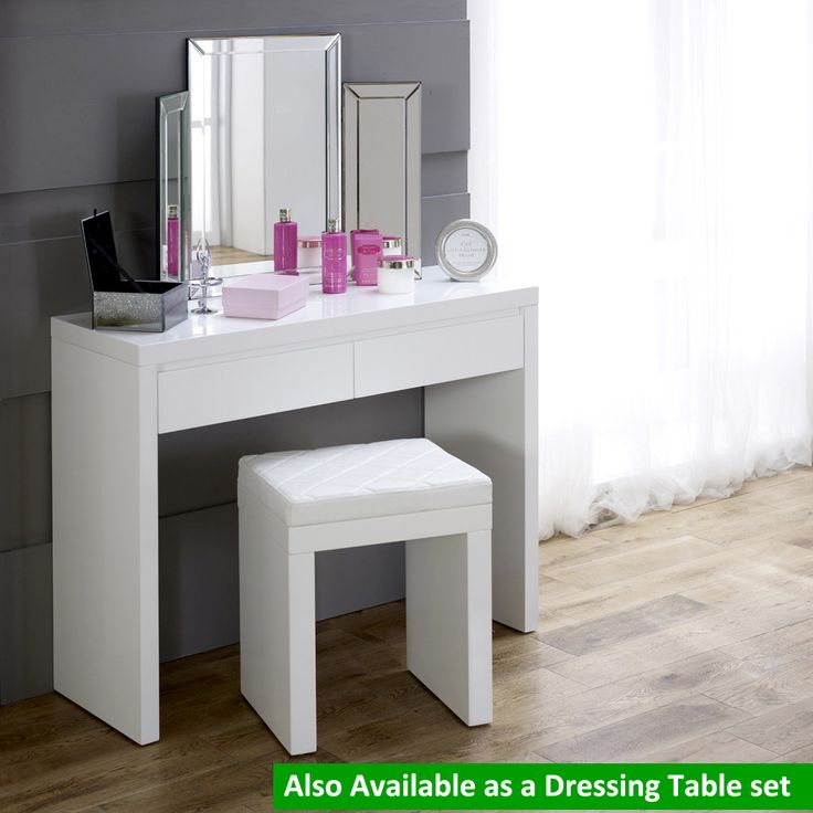 Superb White High Gloss 2 Drawer Dressing Console Table