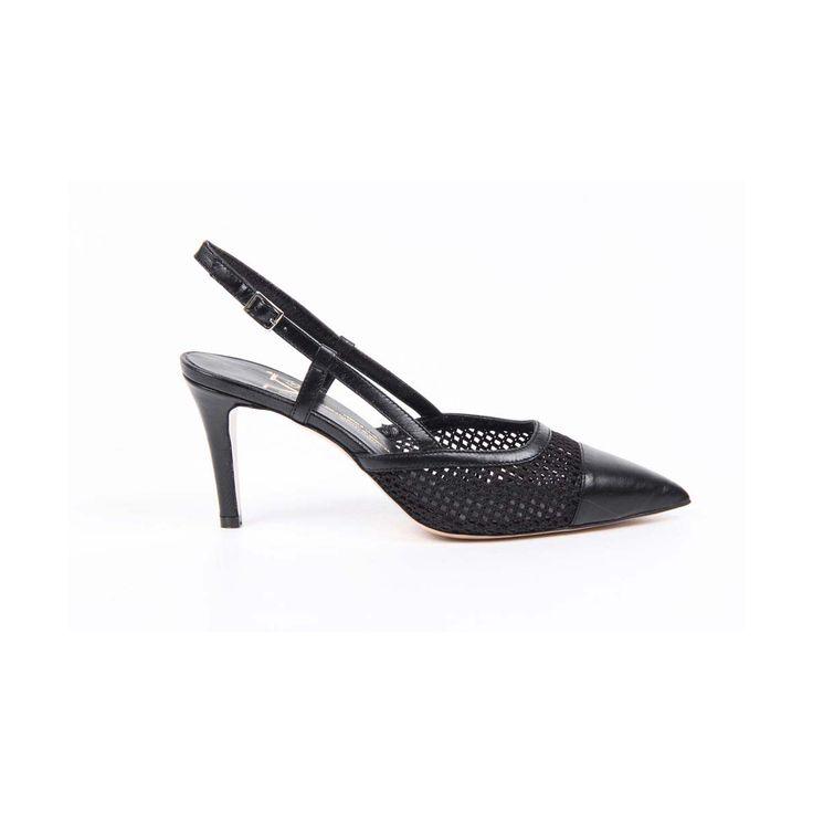 Versace 19.69 Abbigliamento Sportivo Srl Milano Italia Womens Slingback Sandal 5643-LID75 PE ELIOS15NE CAPRETTO ELIOS NERO