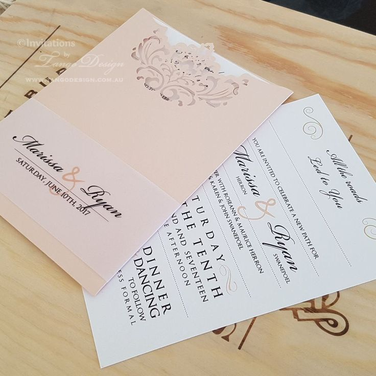 Affordable modern wedding invitation Peach invitation card