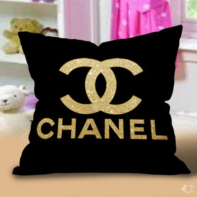 Gold Chanel Logo Pillow Cases