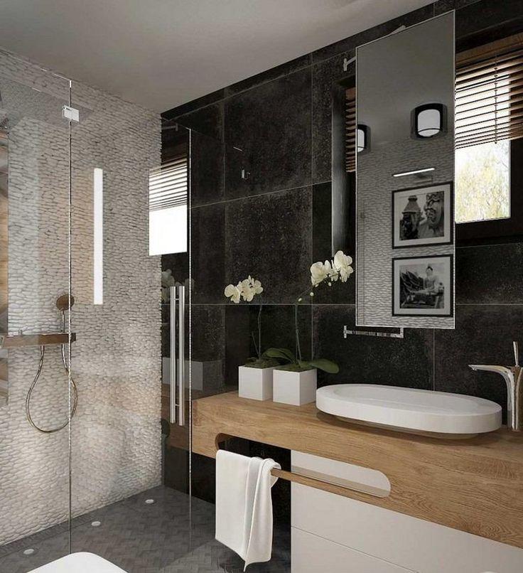 wei e kieswand schwarze wandfliesen und holz waschtisch badezimmer ideen holz pinterest. Black Bedroom Furniture Sets. Home Design Ideas
