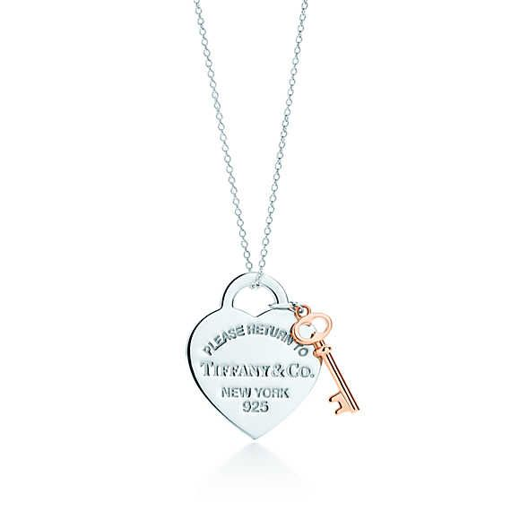 Return to Tiffany® heart key pendant in silver and RUBEDO® metal, medium.
