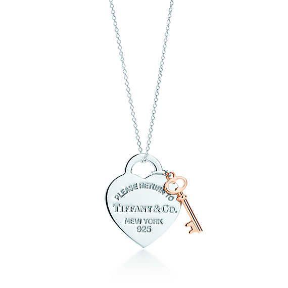 Return to Tiffany™ heart key pendant in silver and RUBEDO™ metal, medium.