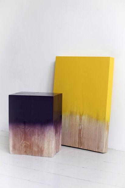 dip-dyed wood.