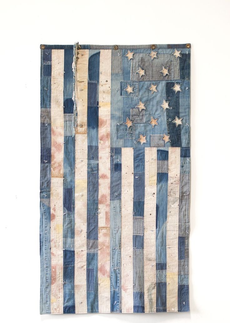 Custom-Made Denim & Cream Canvas Star Flag