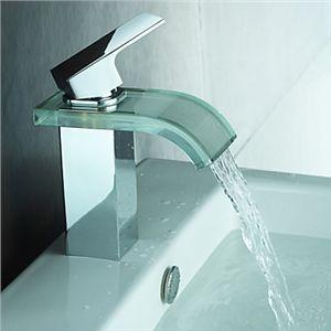 Zeige Details für Moderne Wasserfall Bad Waschtischarmatur mit Glas Auslauf (Chrom)
