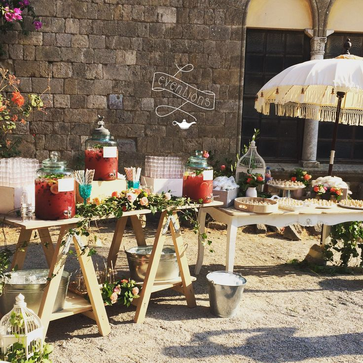 Refreshments table for a wedding in Rhodes island!Homemade lemonade with cranberries & traditional sweets!