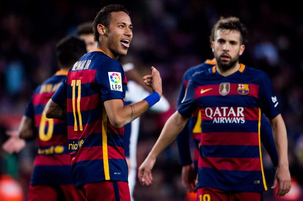 Neymar Santos Jr of FC Barcelona celebrates after scoring his team's fourth goal during the La Liga match between FC Barcelona and Granada CF at Camp Nou on January 9, 2016 in Barcelona, Catalonia.