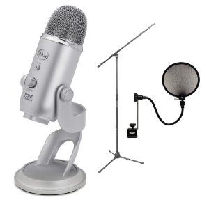 Blue Yeti Microphone Set $130 Boom stand and definitely need the pop filter.