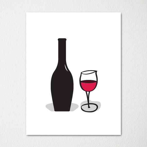 Modern Wine Glass and Bottle Art Print / by SincerelyMePrints, $18.00