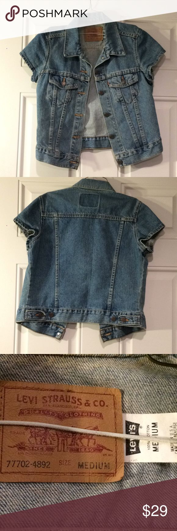 Vintage Levi Strauss Jean-Jacket Short Sleeved Vintage looking women's Levi Strauss short sleeved jean jacket. Size medium. In good condition, no missing buttons or anything like that etc. Comes from smoke/pet free home. Levi's Jackets & Coats Jean Jackets
