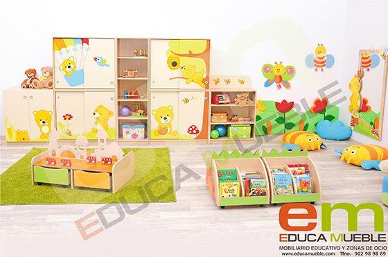 Conjunto de #Muebles #Ositos Curiosos. Compuesto por un mueble con 2 puertas batientes, cuatro muebles con 2 puertas correderas y un mueble medio de estantes. Tienda #Educamueble