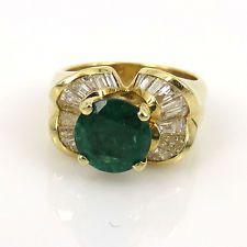 Vintage 1.94ct колумбийского изумруда & 1.0ct багет бриллиант 18K золотое кольцо размер 6