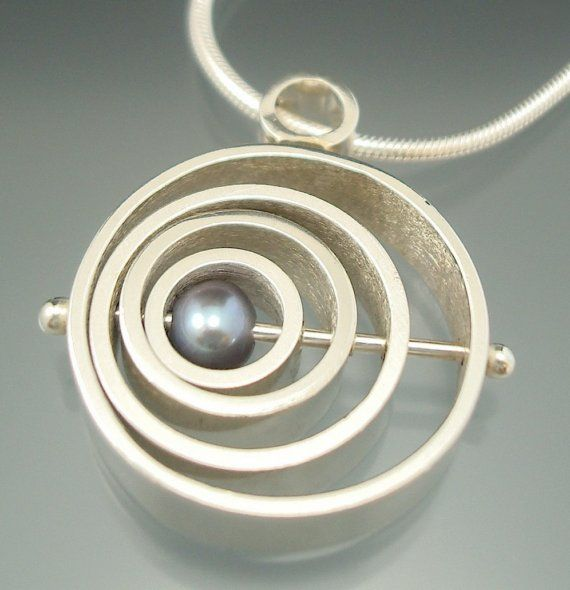 Small Satellite Pendant - sterling, pearl -  ready to ship