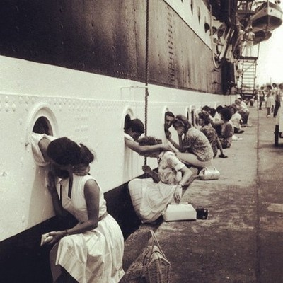 Couples saying goodbye - 1940's - amazing shot of warship by tashvl