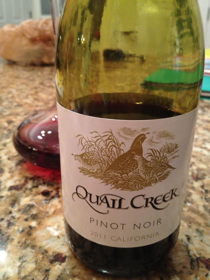 Quail Creek   Pinot Noir  California 2011, Whole Foods $5.99    1 star  Taste for the price is too dry to be a Pinot Noir. I don't recommend. Taste feels corked.
