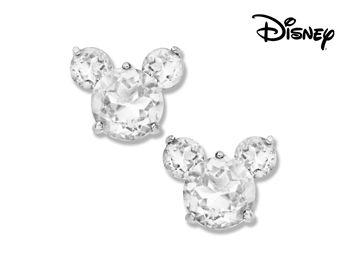 Disney's Mickey Mouse Crystal Quartz Earrings in Sterling Silver