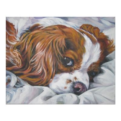 This looks exactly like my girl. I need this print. king charles cavalier spaniel blenheim art print.